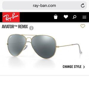 Ray Ban silver mirrored aviators - polarized